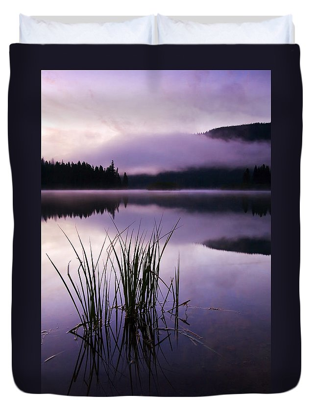 Lake Duvet Cover featuring the photograph Twilight Glow by Mike Dawson