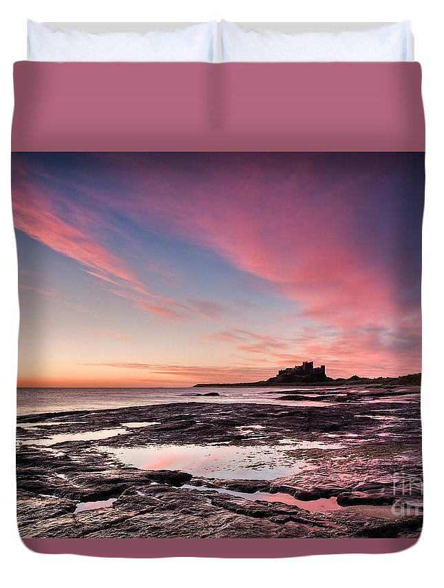 Landscape Duvet Cover featuring the photograph Twilight On Harkness Rocks Bamburgh by Richard Burdon