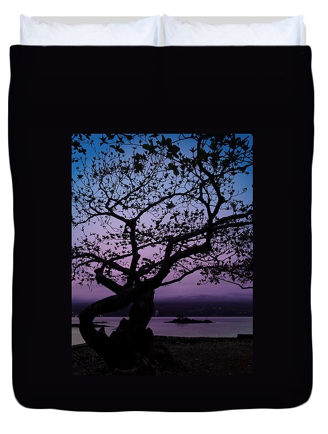 Hawaii Duvet Cover featuring the photograph Twilight On Hilo Bay Hawaii by Daniel Hagerman