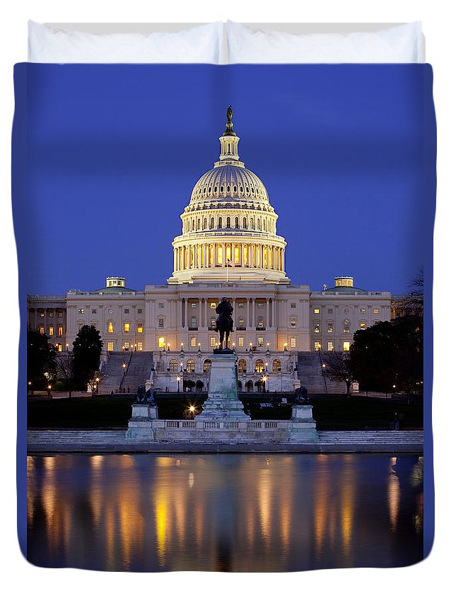 Capital Duvet Cover featuring the photograph Twilight Over Us Capitol by Brian Jannsen