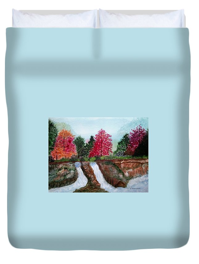 Waterfall Duvet Cover featuring the painting Twin Falls by B Kathleen Fannin