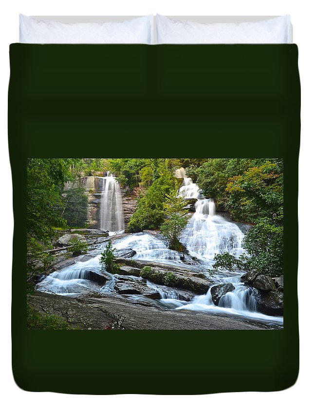 Waterfall Duvet Cover featuring the photograph Twin Falls Flows Forth by Frozen in Time Fine Art Photography