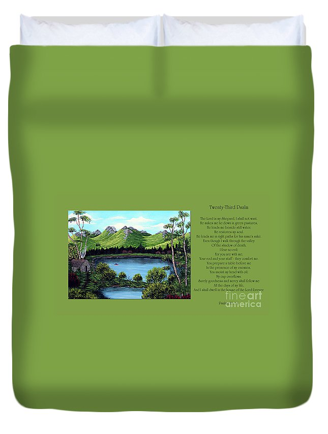 Twenty Third Psalm Duvet Cover featuring the painting Twin Ponds And 23 Psalm On Green Horizontal by Barbara Griffin
