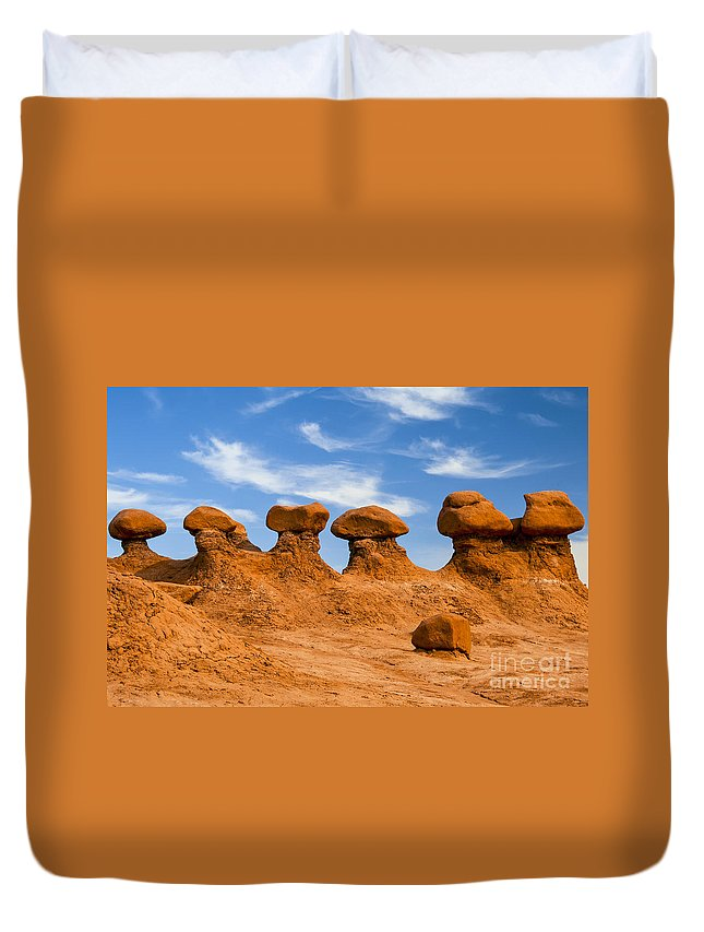 Goblin Valley State Park Utah Red Rock Formations Formations Goblins Winter Snow Landscape Landscapes Duvet Cover featuring the photograph Twins And Sibblings by Bob Phillips