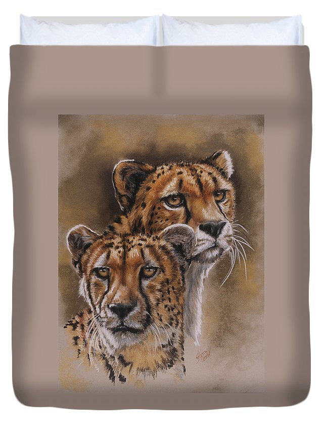 Cheetah Duvet Cover featuring the pastel Twins by Barbara Keith