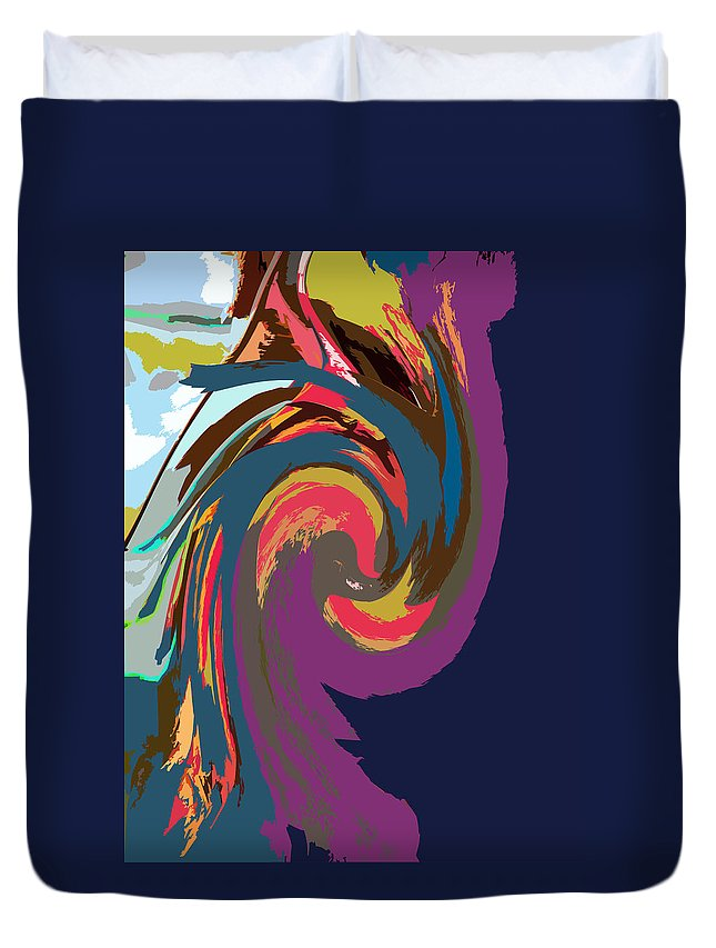 Abstraction Duvet Cover featuring the digital art Twirling Colors by John Lautermilch