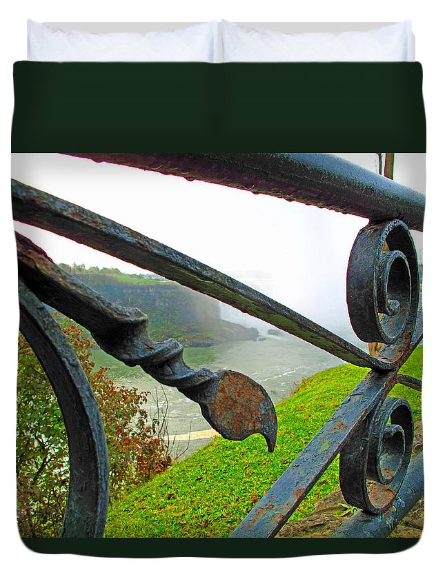 Fence Duvet Cover featuring the photograph Twirls And Curls by Barbara McDevitt