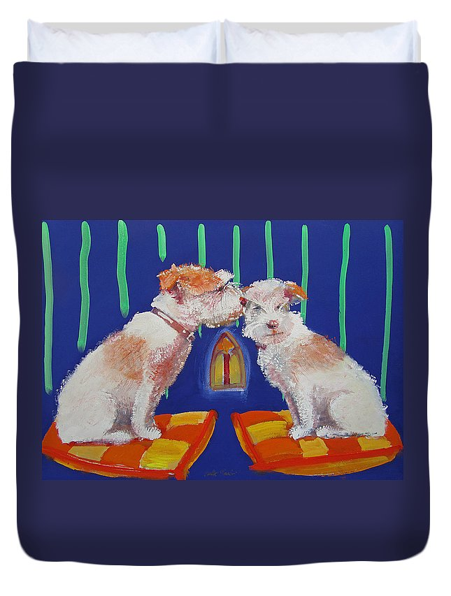 Puppy Duvet Cover featuring the painting Two Border Terriers Together by Charles Stuart