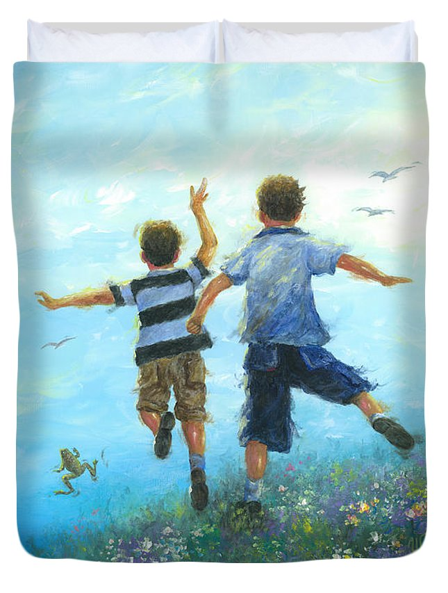 Boys Duvet Cover featuring the painting Two Brothers Leaping by Vickie Wade