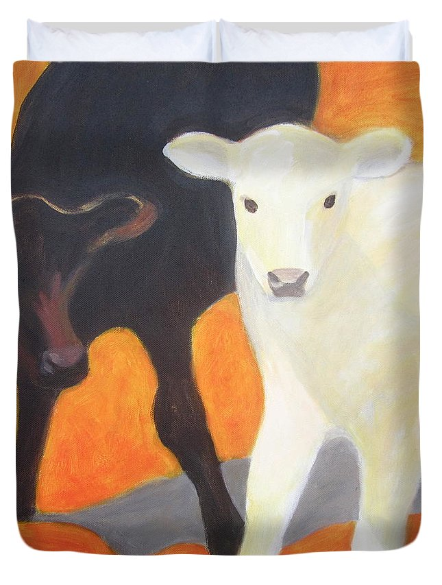 Calf Duvet Cover featuring the painting Two Calves by Kazumi Whitemoon