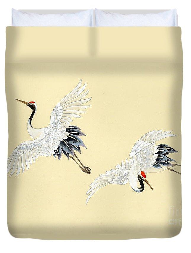 Haruyo Morita Digital Art Duvet Cover featuring the digital art Two Cranes by MGL Meiklejohn Graphics Licensing
