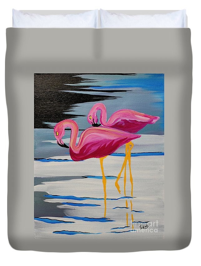Bird Duvet Cover featuring the painting Two Flamingo's In Acrylic by Janice Pariza