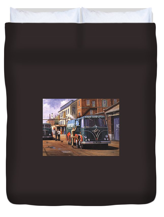 Foden Duvet Cover featuring the painting Two Fodens by Mike Jeffries