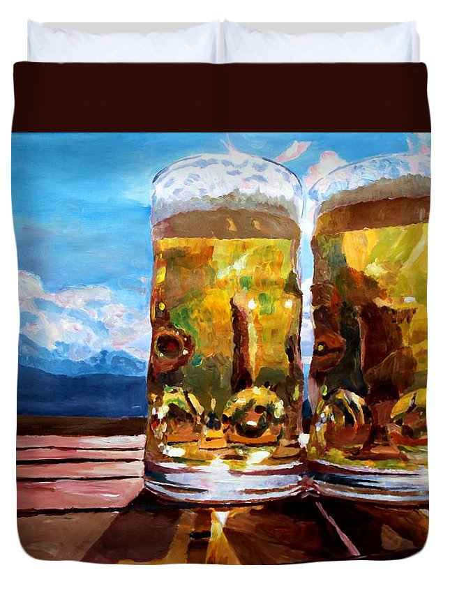Beer Duvet Cover featuring the painting Two Glasses Of Beer With Mountains by M Bleichner