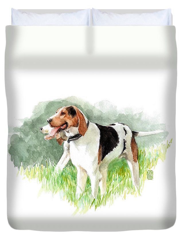 Foxhunt Duvet Cover featuring the painting Two Hounds by Debra Jones