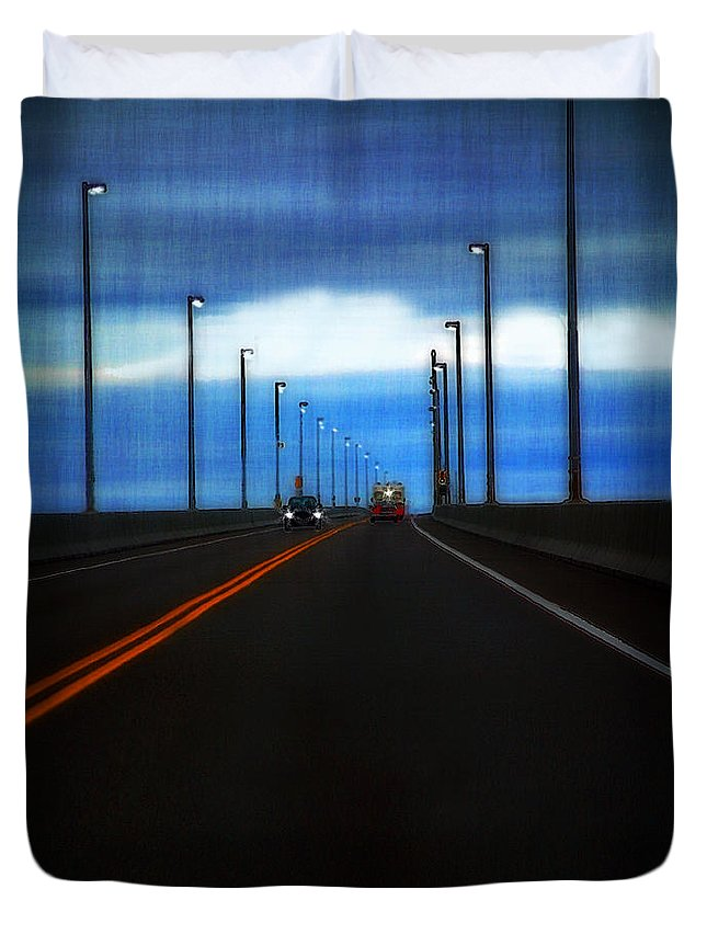 Cars Duvet Cover featuring the painting Two-lane Blacktop by RC DeWinter