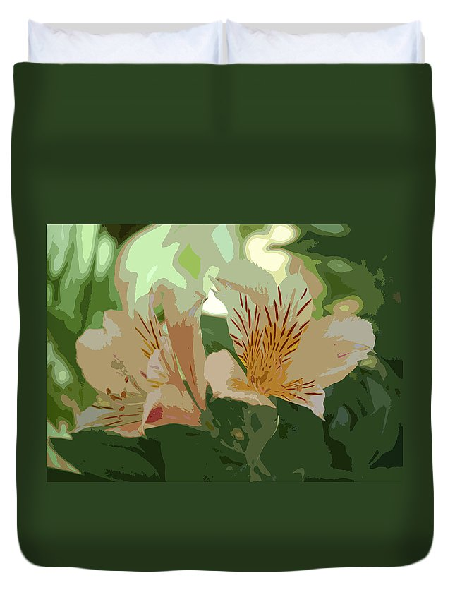 Linda Brody Duvet Cover featuring the digital art Two Lilies Cutout by Linda Brody