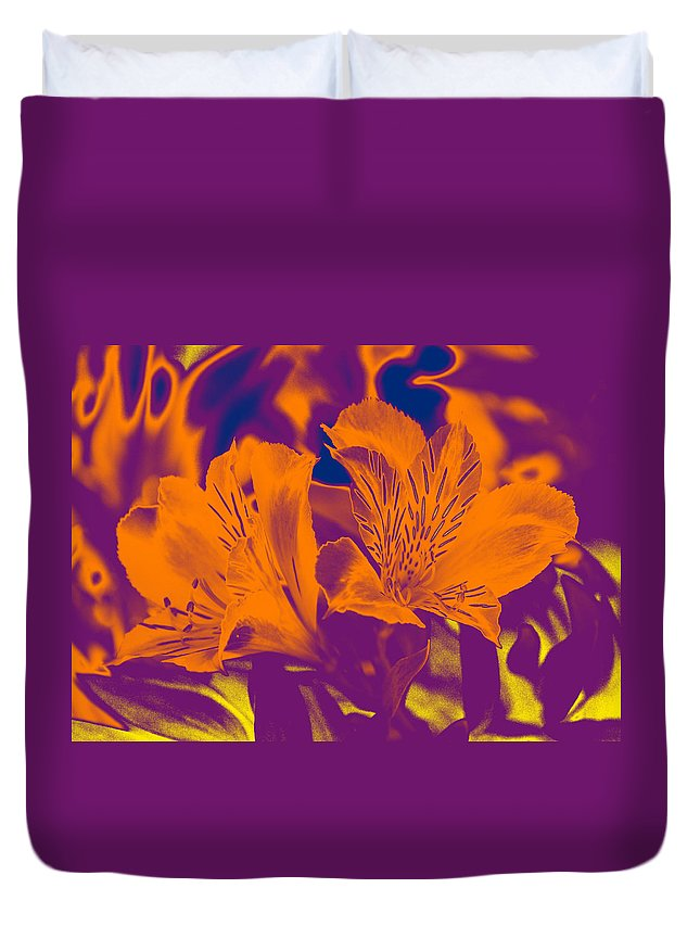 Linda Brody Duvet Cover featuring the photograph Two Lilies Gradient by Linda Brody