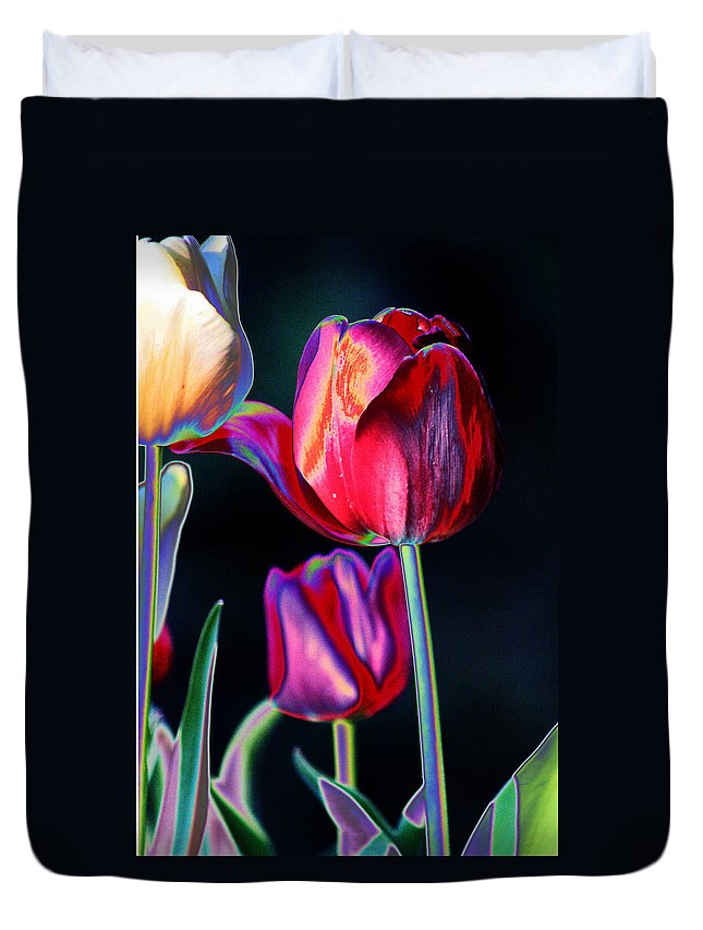 Tulips Duvet Cover featuring the digital art Two Lips 4 You by Joseph Coulombe