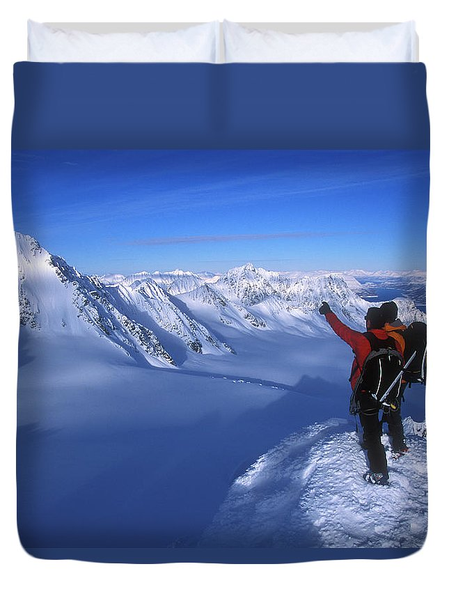 Adventure Duvet Cover featuring the photograph Two Men Stand On Top Of A Mountain by Jimmy Chin