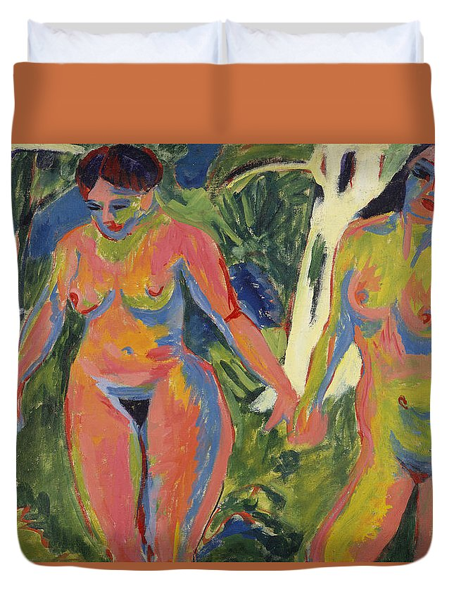 Expressionist; Expressionism; Portrait; Female; Double; Three-quarter Length; Forest; Tree; 2 Duvet Cover featuring the painting Two Nude Women In A Wood by Ernst Ludwig Kirchner