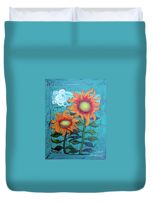 Sunflower Duvet Cover featuring the painting Two Orange Sunflowers by Genevieve Esson