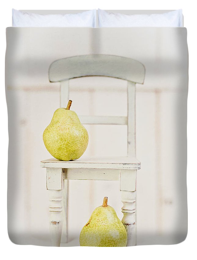 Food Duvet Cover featuring the photograph Two Pears And A Chair Still Life by Edward Fielding