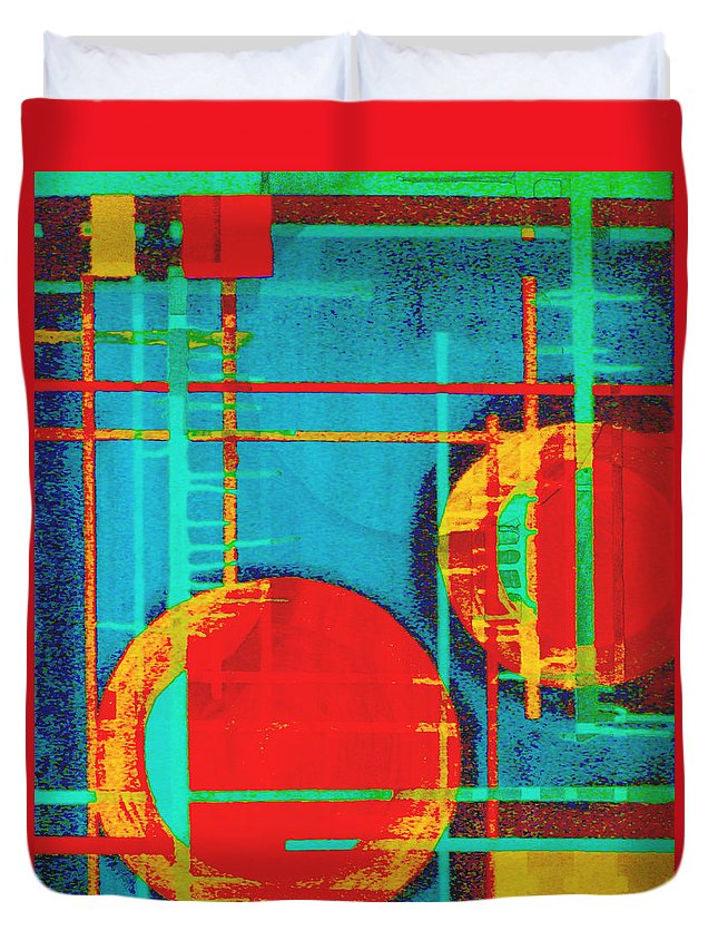 Abstract Duvet Cover featuring the digital art Two Red Suns by Stephanie Grant