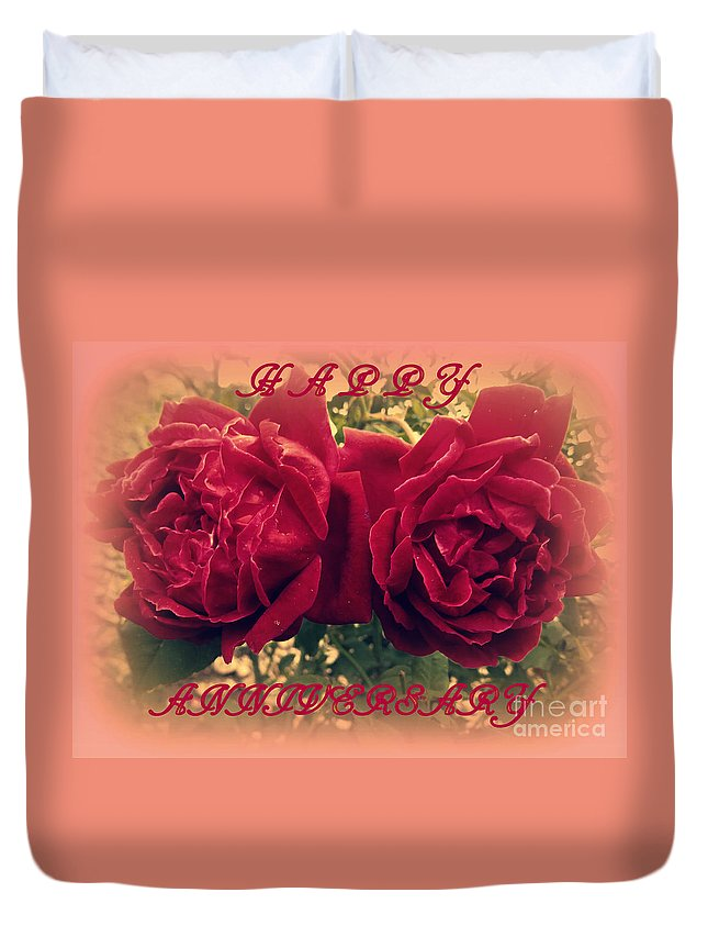 Rose Duvet Cover featuring the photograph Two Roses. Happy Anniversary by Zina Stromberg