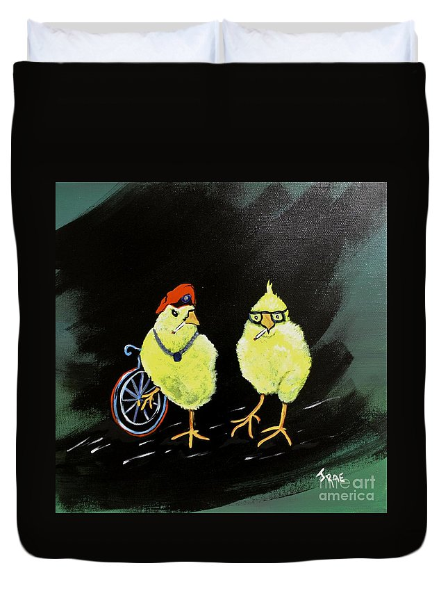 Chickens Duvet Cover featuring the painting Two Smokin Hot Chicks by Janice Pariza