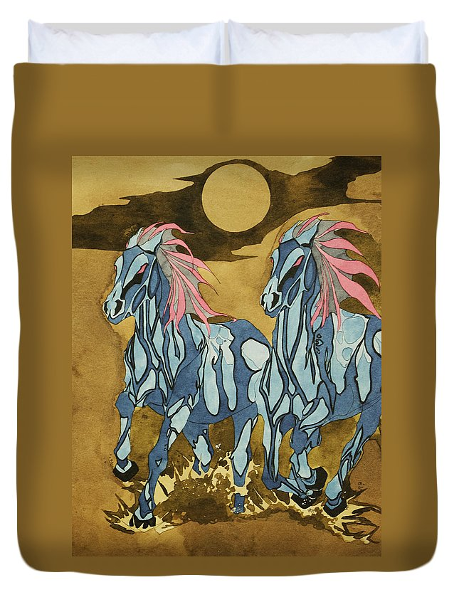 Horse Duvet Cover featuring the mixed media Two Steeds by Daniel P Cronin