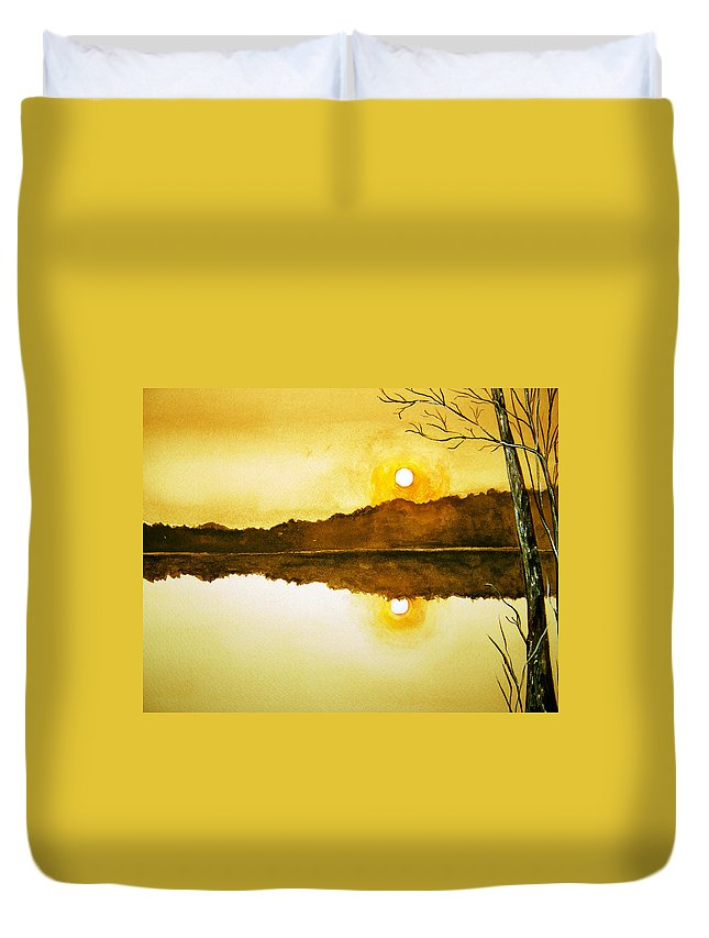 Watercolor Duvet Cover featuring the painting Two Suns by Brenda Owen