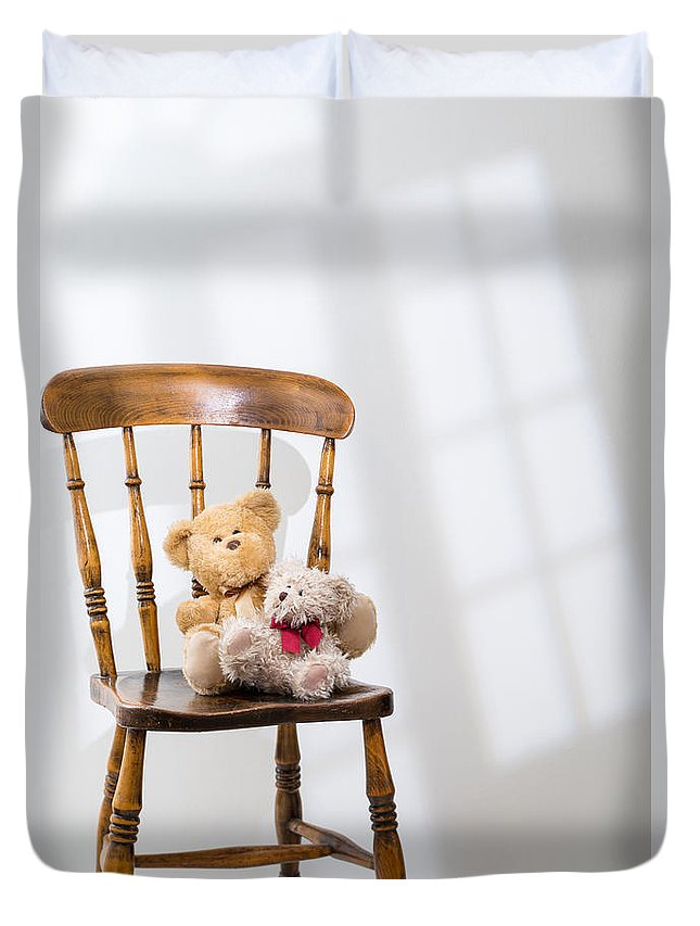 Two Duvet Cover featuring the photograph Two Teddies by Amanda Elwell