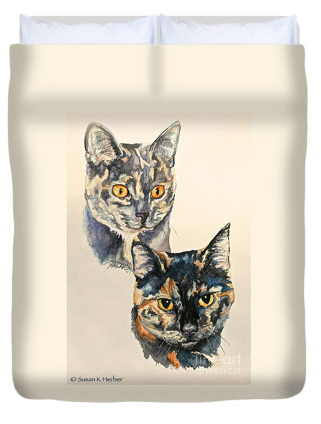 Cat Duvet Cover featuring the painting Two Torti's by Susan Herber