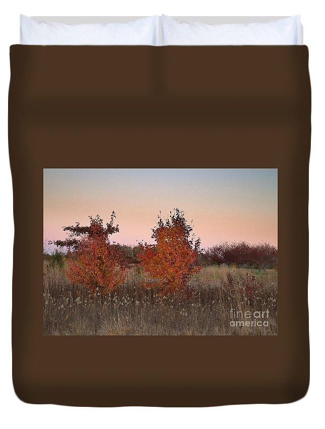 Carmel Duvet Cover featuring the photograph Two Trees At Sunset by Amy Lucid