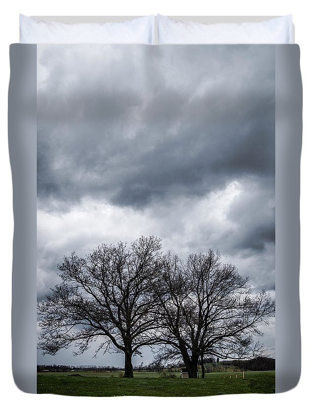 Clouds Duvet Cover featuring the photograph Two Trees Beneath A Dark Cloudy Sky by Amy Cicconi