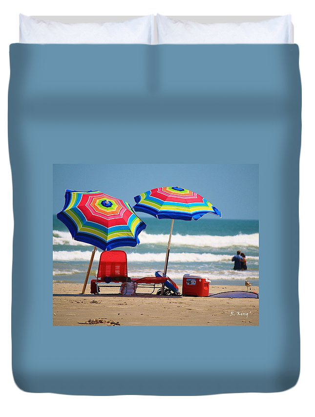 Roena King Duvet Cover featuring the photograph Two Umbrellas On The Beach In Texas by Roena King