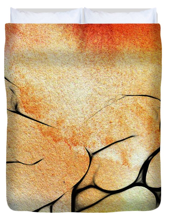 Dark Duvet Cover featuring the painting Two Women 2 by Steve K