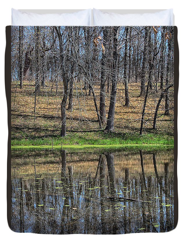 Reflection Duvet Cover featuring the photograph Two Worlds by Lauri Novak