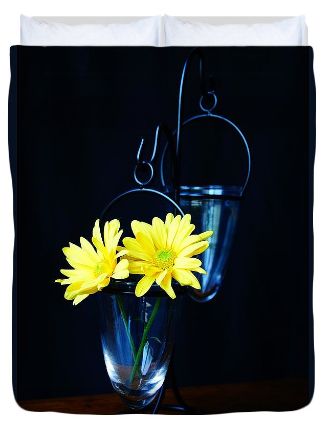 Flower Duvet Cover featuring the photograph Two Yellow Daisies by Kerri Mortenson