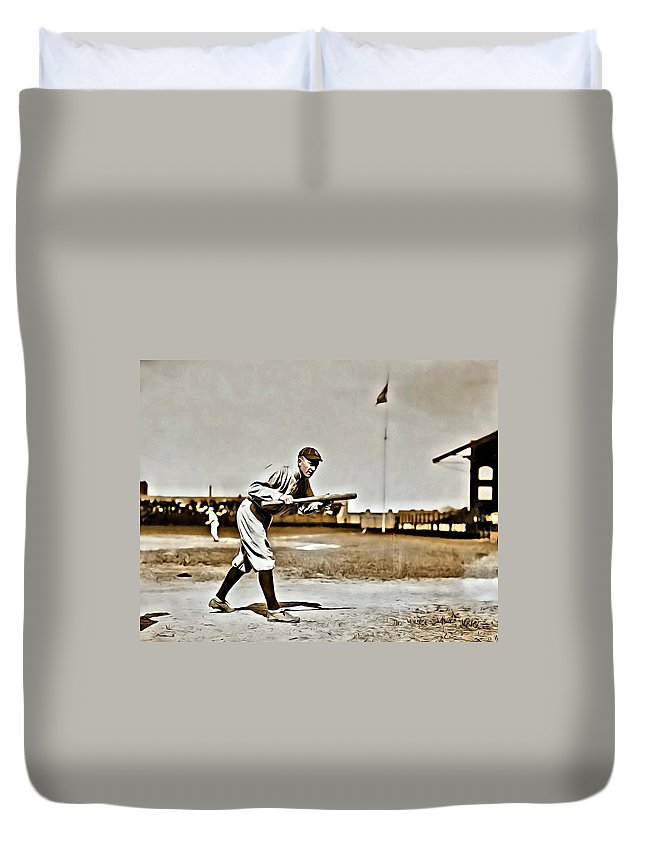 Mlb Duvet Cover featuring the painting Ty Cobb Painting by Florian Rodarte
