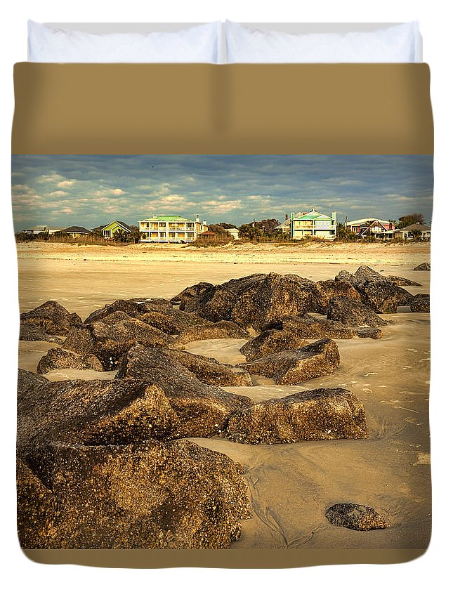 Tybee Island Duvet Cover featuring the photograph Tybee Island Landscape by Diana Powell