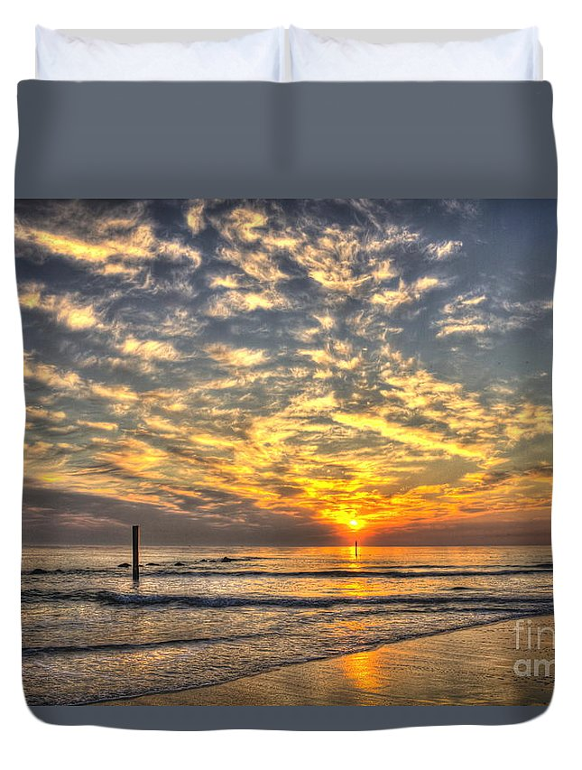 Reid Callaway Tybee Island Sunrise Duvet Cover featuring the photograph Calm Seas And A Tybee Island Sunrise by Reid Callaway