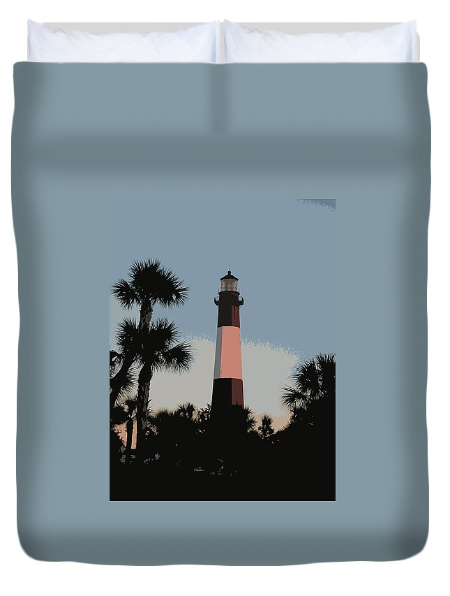Tybee Duvet Cover featuring the digital art Tybee Light At Dusk by Rhodes Rumsey
