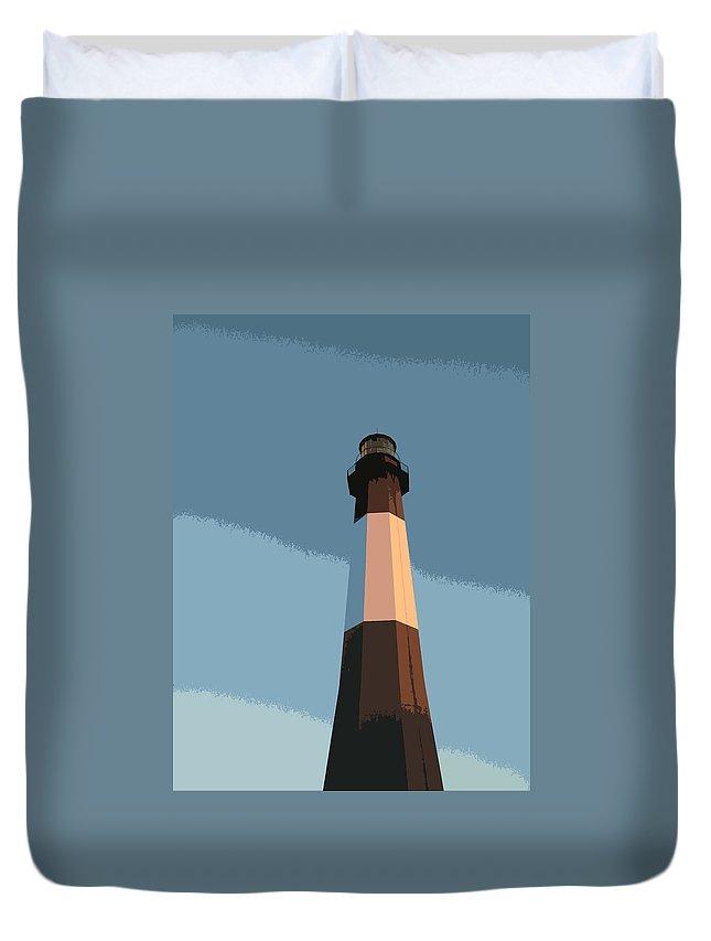 Tybee Duvet Cover featuring the digital art Tybee Lighthouse Sunset by Rhodes Rumsey