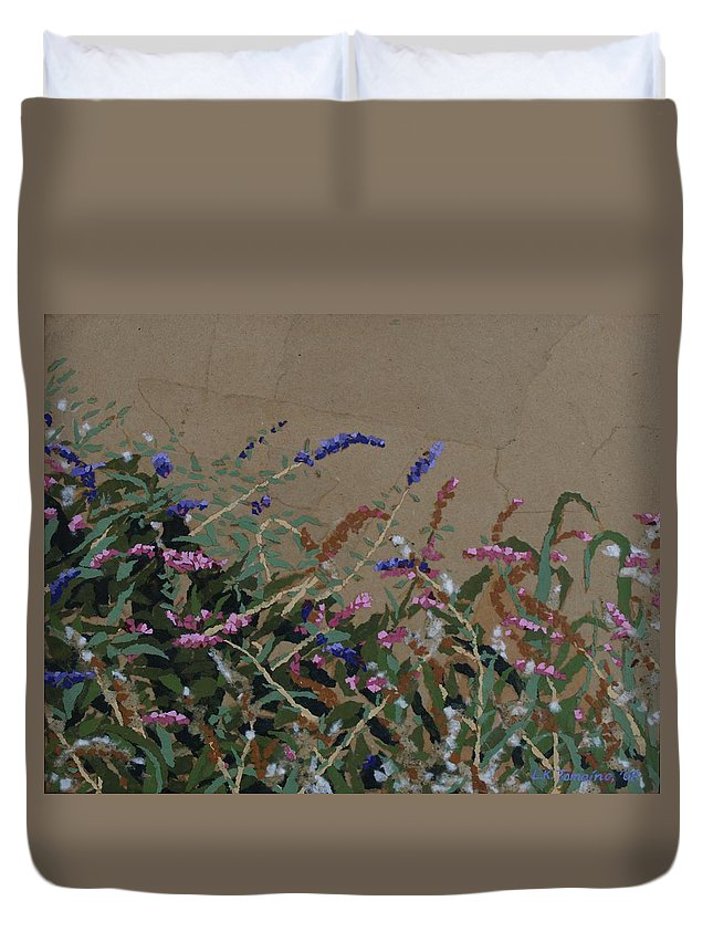 Flowering Butterfly Bush Duvet Cover featuring the painting Tyler by Leah Tomaino