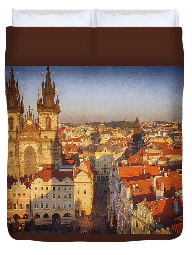 Gothic Style Duvet Cover featuring the photograph Tyn Church Old Town Square by Joan Carroll