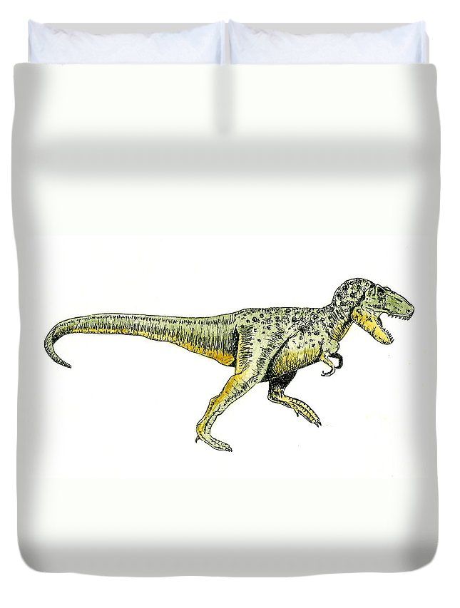 Animals Duvet Cover featuring the painting Tyrannosaurus Rex by Michael Vigliotti