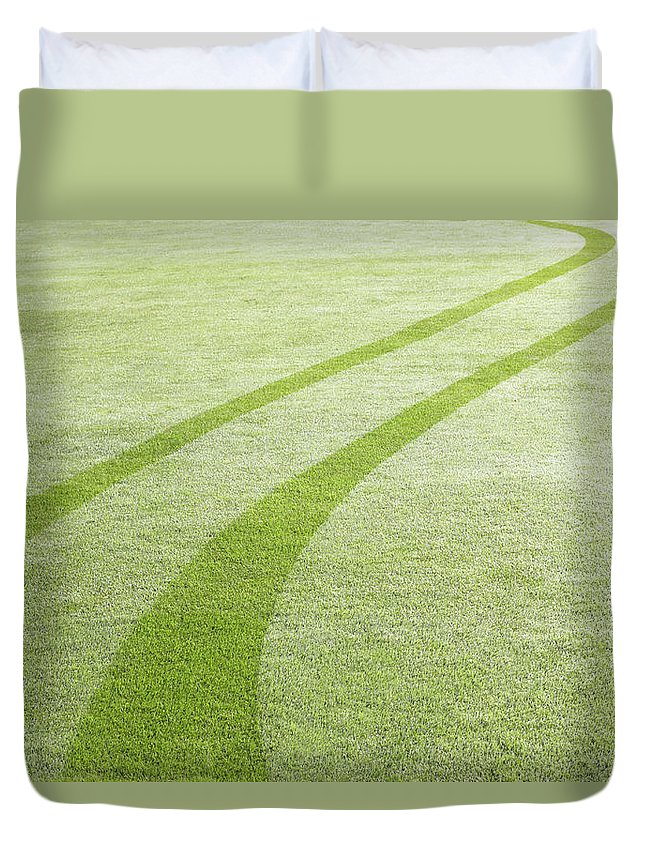 Curve Duvet Cover featuring the photograph Tyre Tracks In Dew by Ezra Bailey