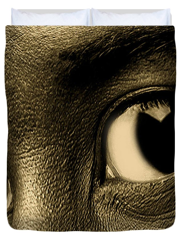 Eye Duvet Cover featuring the photograph Tyrone by Terry Fiala